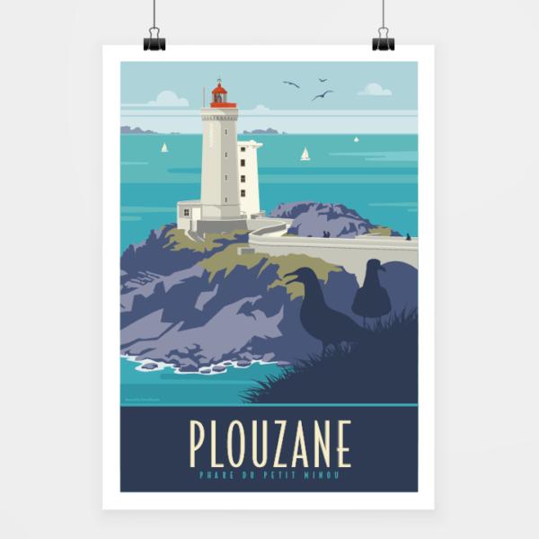 Affiche touristique avec l'illustration Plouzané le phare