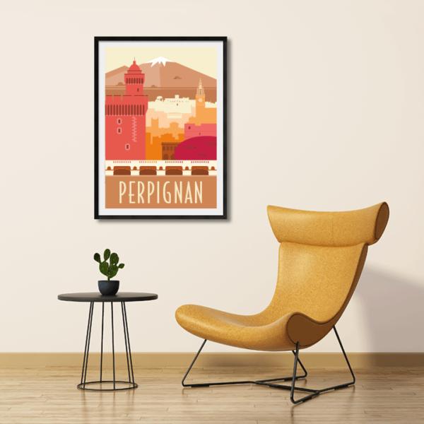 Décor avec l'affiche encadrée Perpignan rétro