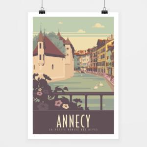 Affiche touristique avec l'illustration Annecy Vieille Ville