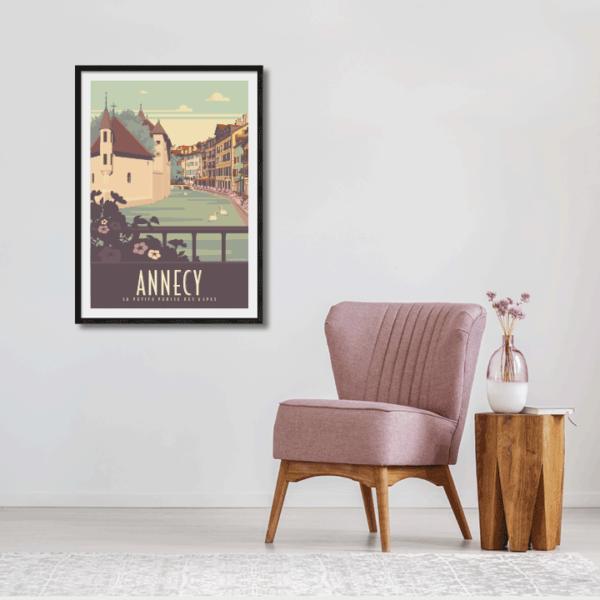 Décor avec l'affiche encadrée Annecy Vieille Ville