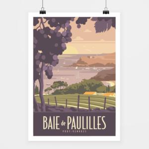 Affiche touristique avec l'illustration Baie de Paulilles