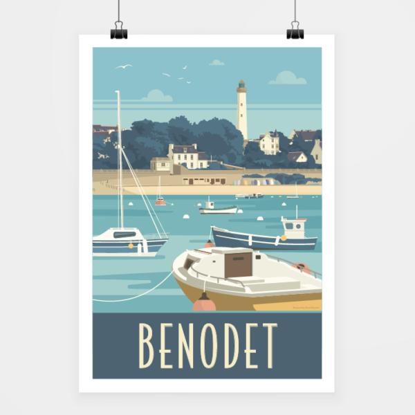 Affiche touristique avec l'illustration Bénodet rétro