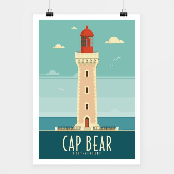 Affiche touristique avec l'illustration Cap Béar rétro