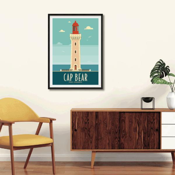 Décor avec l'affiche encadrée Cap Béar Rétro