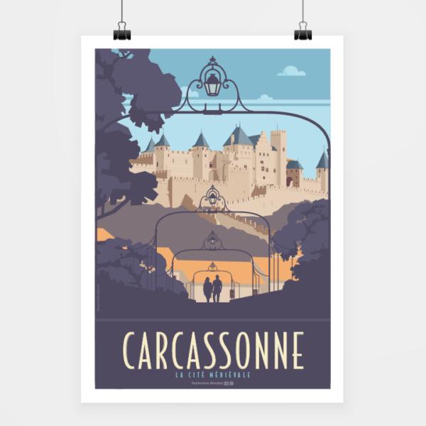 Affiche touristique avec l'illustration Carcassonne la cité