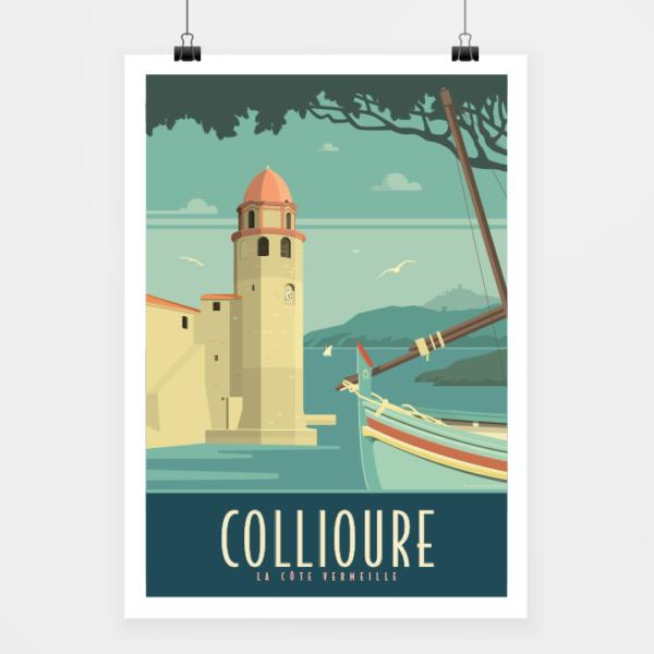 Affiche touristique avec l'illustration Collioure rétro