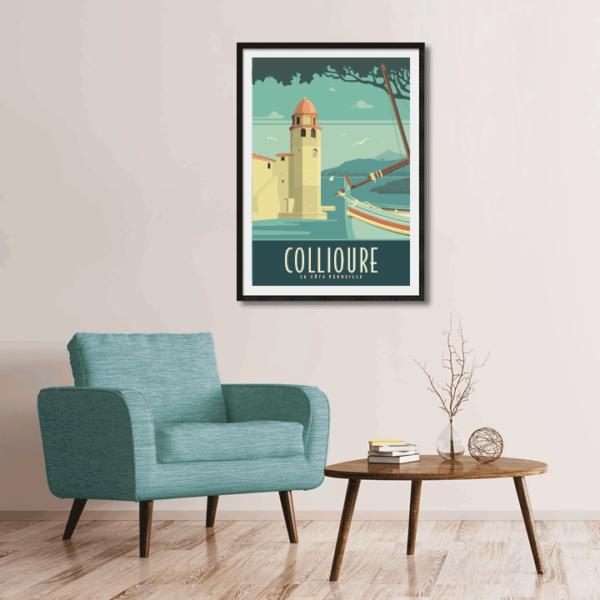Décor avec l'affiche encadrée Collioure rétro