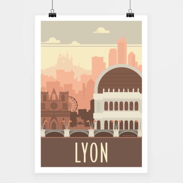 Affiche touristique avec l'illustration Lyon rétro