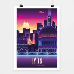 Affiche touristique avec l'illustration Lyon lumière
