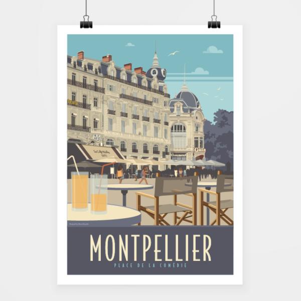 Affiche touristique avec l'illustration Montpellier Comédie