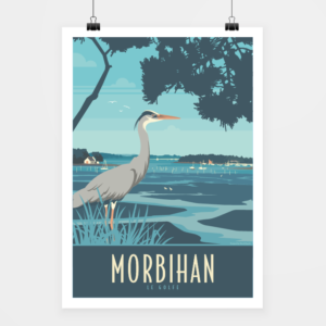 Affiche touristique avec l'illustration Morbihan le golfe