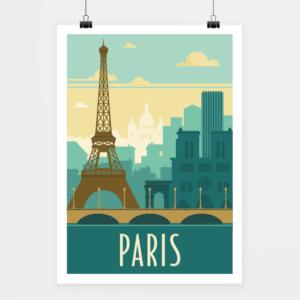 Affiche touristique avec l'illustration Paris rétro vert