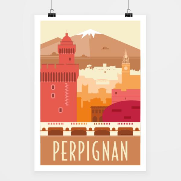 Affiche touristique avec l'illustration Perpignan rétro
