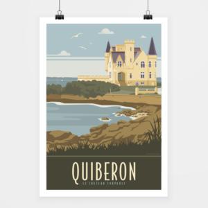 Affiche touristique avec l'illustration Quiberon le château