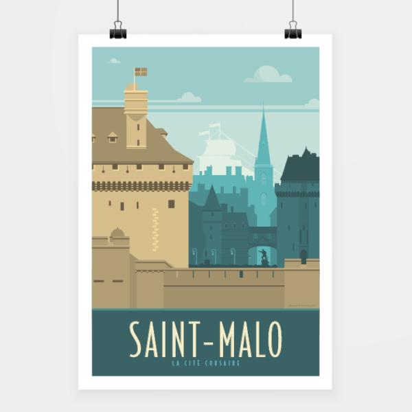 Affiche touristique avec l'illustration Saint-Malo rétro