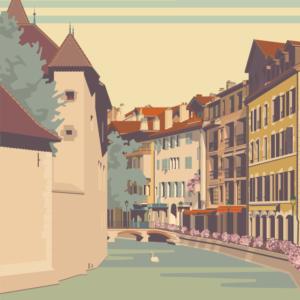 Gros plan de l'illustration Annecy Vieille Ville