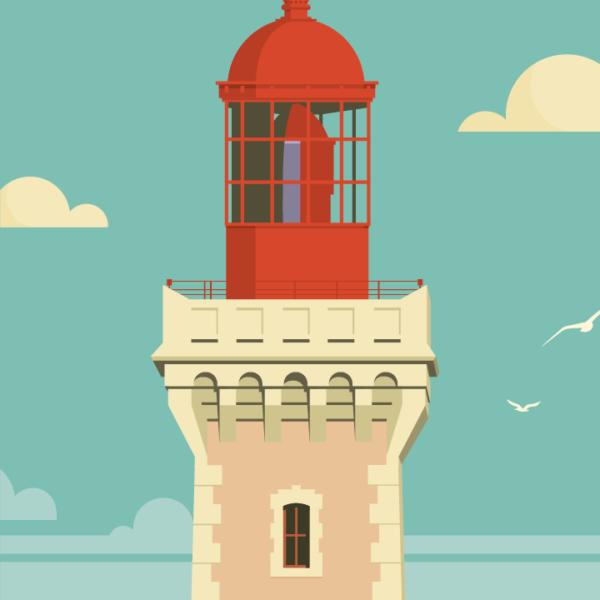 Gros plan de l'illustration Cap Béar rétro