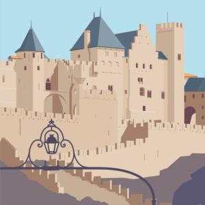 Gros plan de l'illustration Carcassonne la cité