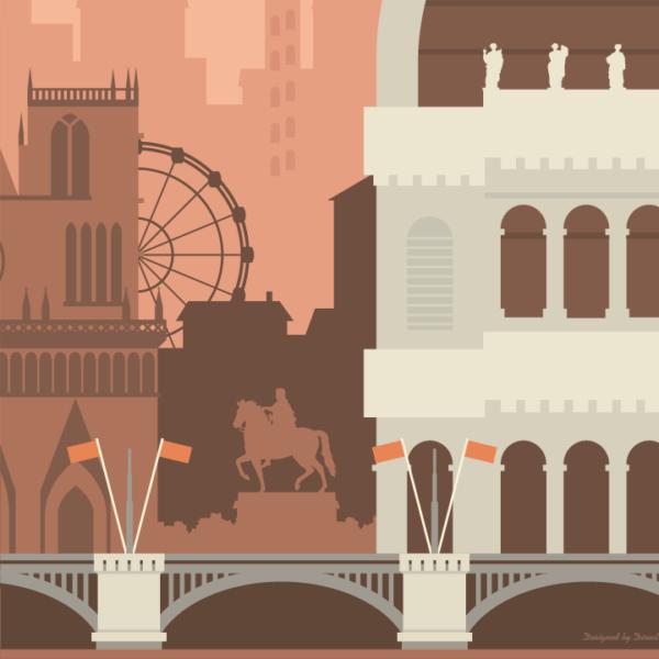 Gros plan de l'illustration Lyon rétro