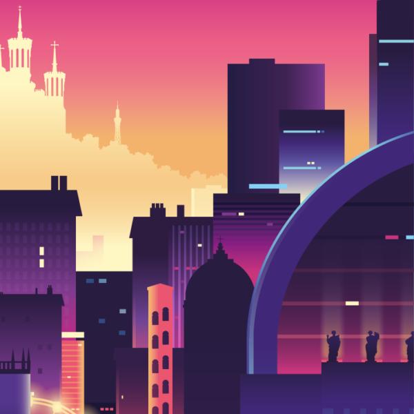 Gros plan de l'illustration Lyon lumière