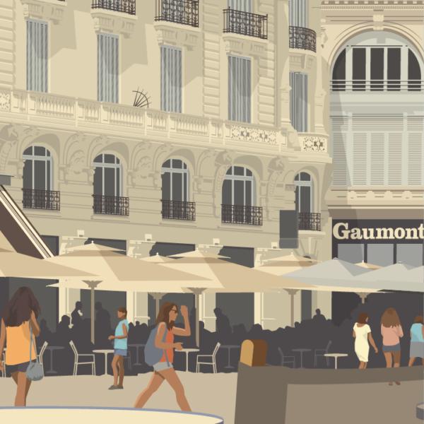 Gros plan de l'illustration Montpellier Comédie
