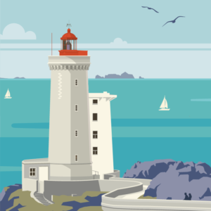 Gros plan de l'illustration Plouzané le phare