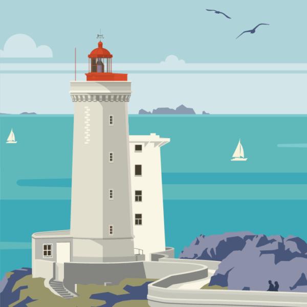 Gros plan de l'illustration Plouzané le phare