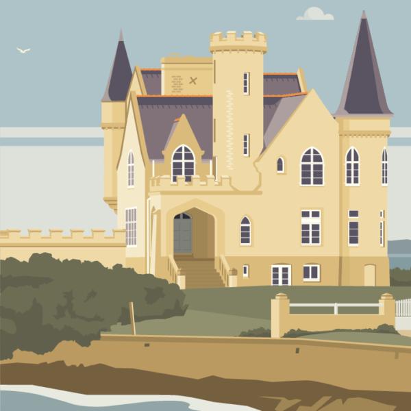 Gros plan de l'illustration Quiberon le château