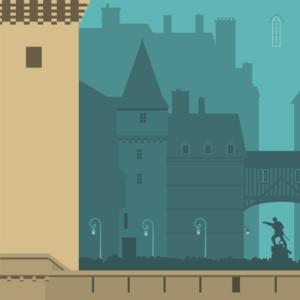 Gros plan de l'illustration Saint-Malo rétro