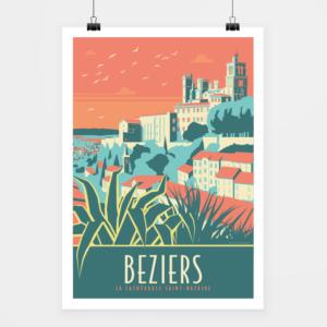 Affiche touristique avec l'illustration Béziers Cathédrale
