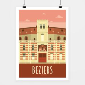 Affiche touristique avec l'illustration Béziers les arènes