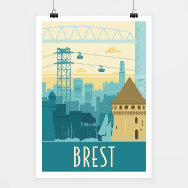 Affiche touristique avec l'illustration Brest rétro