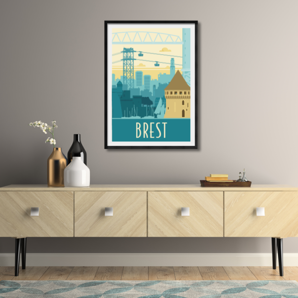 Décor avec l'affiche encadrée Brest rétro