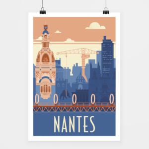 Affiche touristique avec l'illustration Nantes rétro