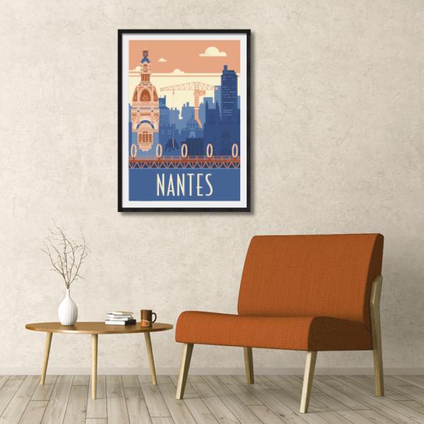 Décor avec l'affiche encadrée Nantes rétro