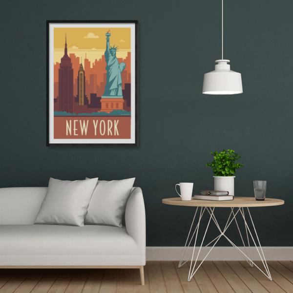Décor avec l'affiche encadrée New York rétro