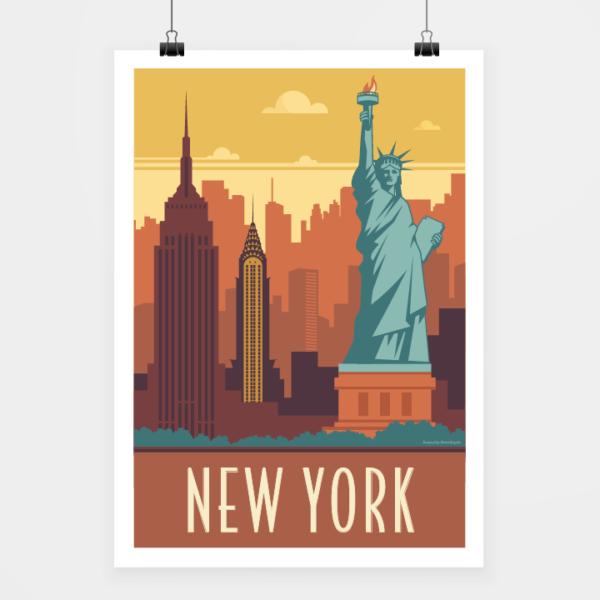 Affiche touristique avec l'illustration New York rétro