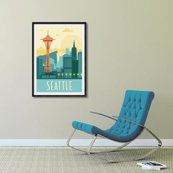 Décor avec l'affiche encadrée Seattle rétro