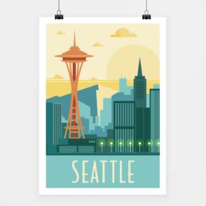 Affiche touristique avec l'illustration Seattle rétro