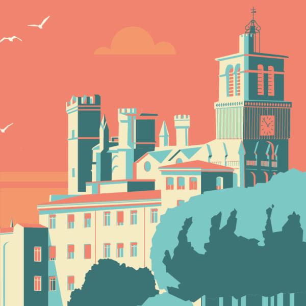 Gros plan de l'illustration Béziers Cathédrale
