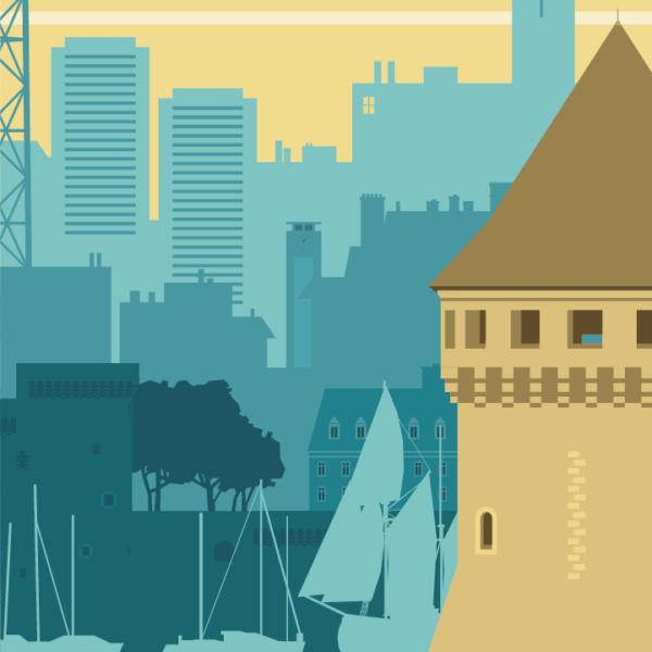 Gros plan de l'illustration Brest rétro