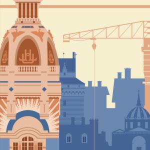 Gros plan de l'illustration Nantes rétro
