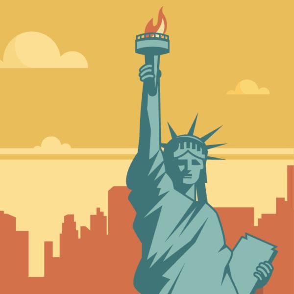 Gros plan de l'illustration New York rétro