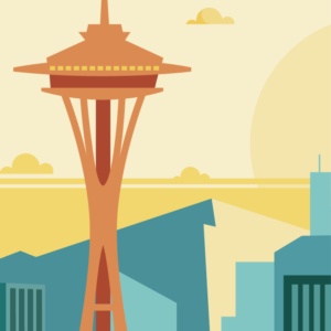 Gros plan de l'illustration Seattle rétro