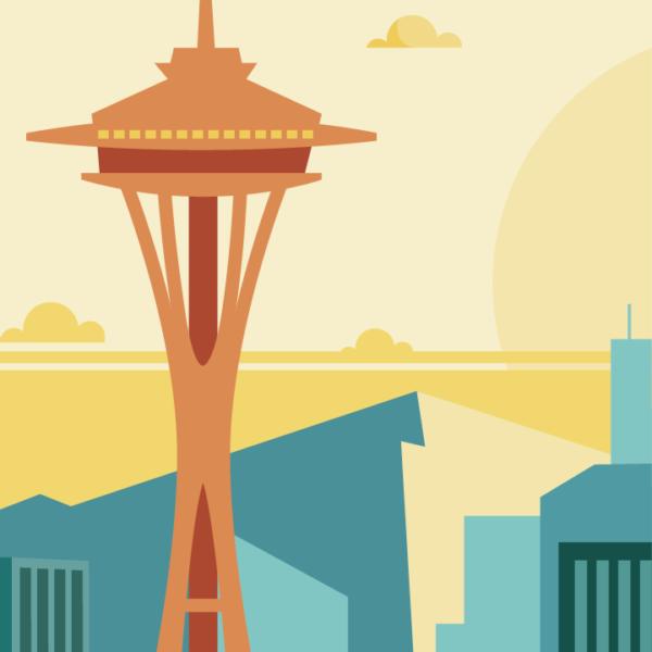 Gros plan de l'illustration Seattle rétro