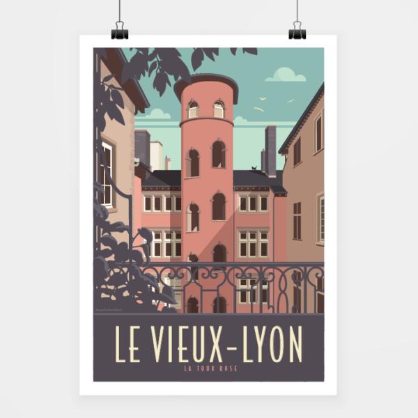 Affiche touristique avec l'illustration Lyon la Tour Rose