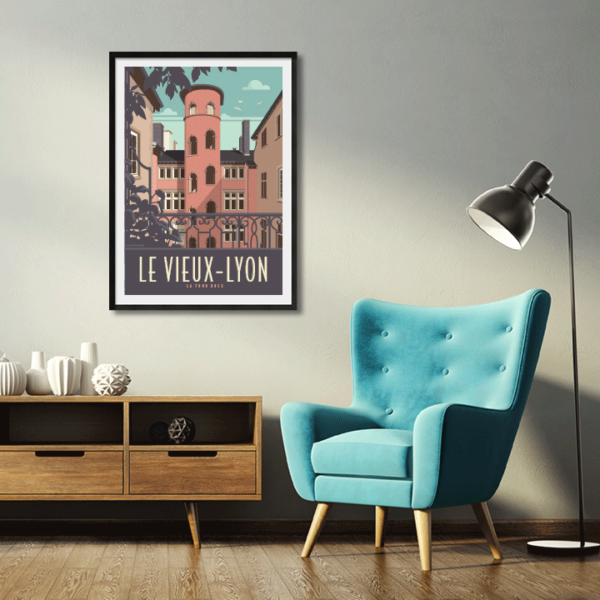 Décor avec l'affiche encadrée Lyon la Tour Rose