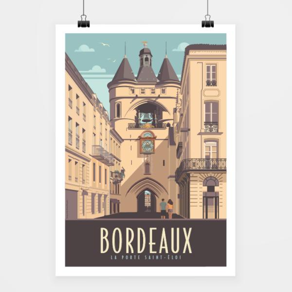 Affiche touristique avec l'illustration Bordeaux Porte Saint-Éloi