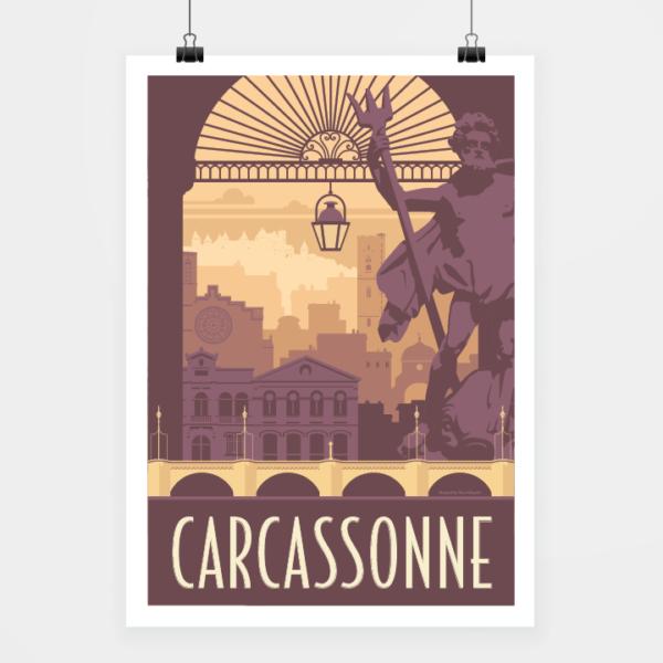 Affiche touristique avec l'illustration Carcassonne rétro
