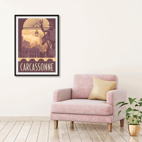 Décor avec l'affiche encadrée Carcassonne rétro